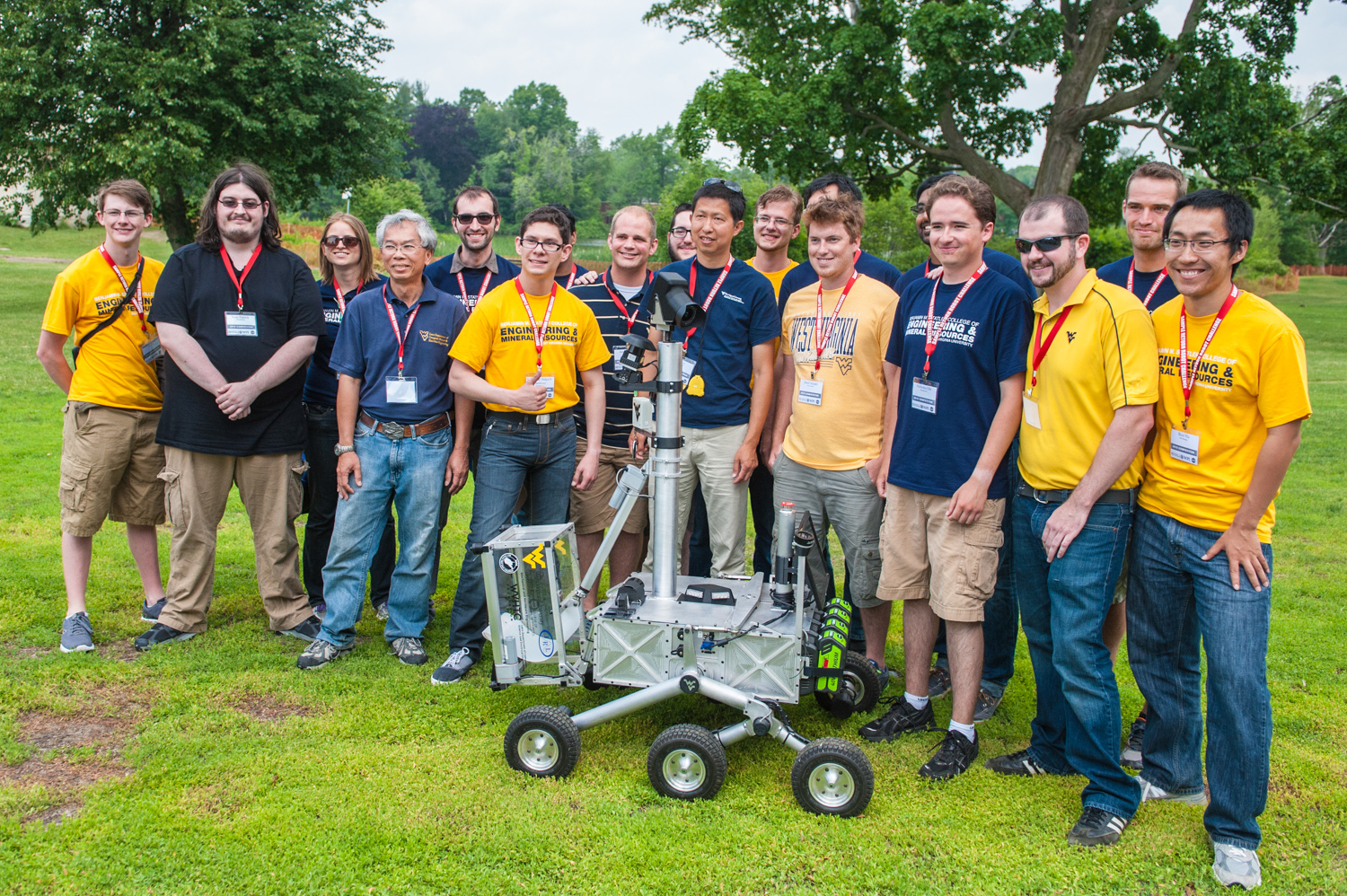 West Virginia University's robotics team spent 18 months designing, building, and testing the Cataglyphis rover. Named after a desert ant that travels long distances, the Cataglyphis was the first rover to complete the second stage of Nasa's Sample Return Robot Challenge.  Credit:  Nick Morales/West Virginia University