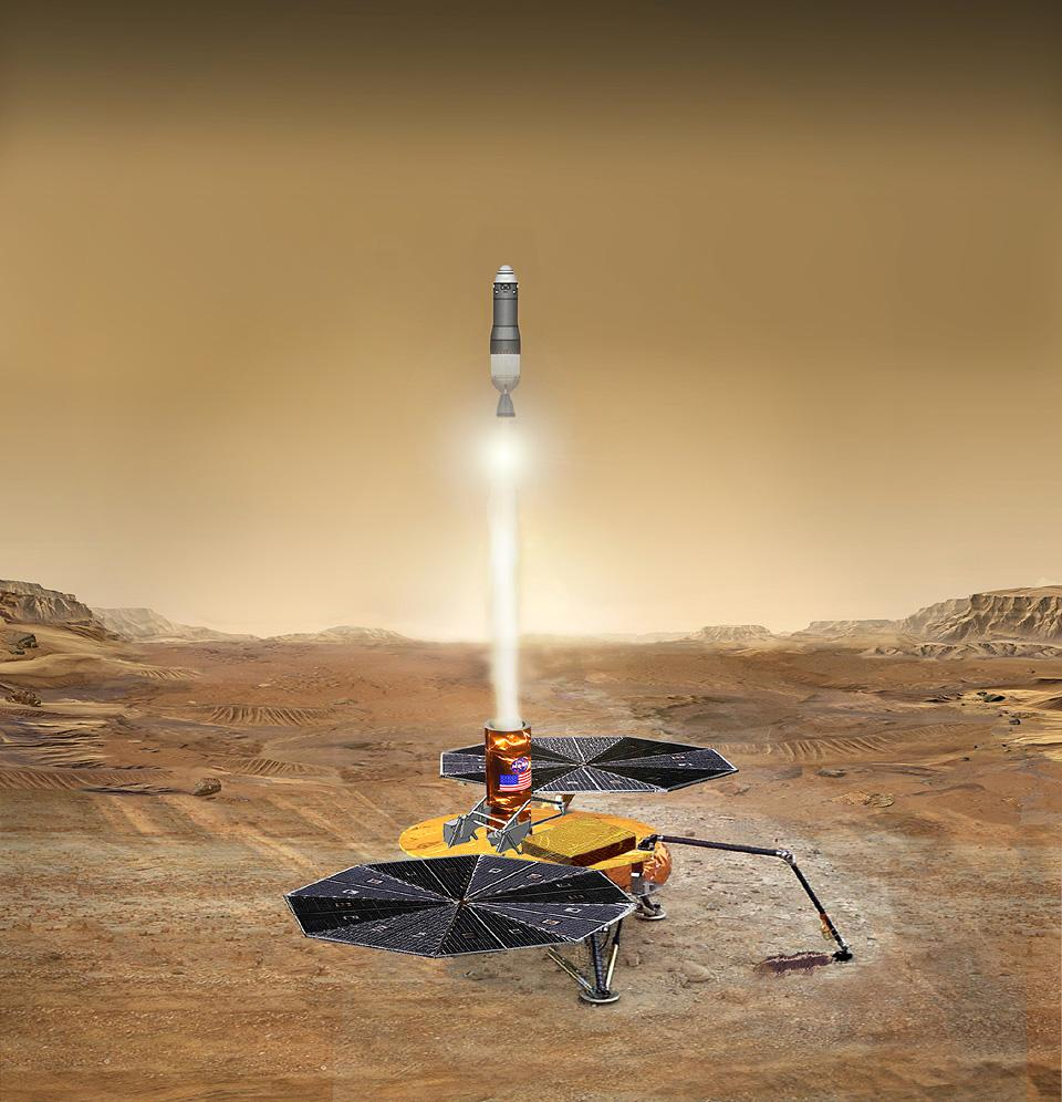 Nasa hopes to use robots to bring the first samples back from Mars. This artist's concept shows how a lander-based mission would scoop nearby soil samples. A rocket carries samples to a waiting Mars orbiter. A rover based mission could collect a wider range of geological samples, but Nasa needs smarter rovers to do that affordably.  Credit:  Nasa/JPL-Caltech