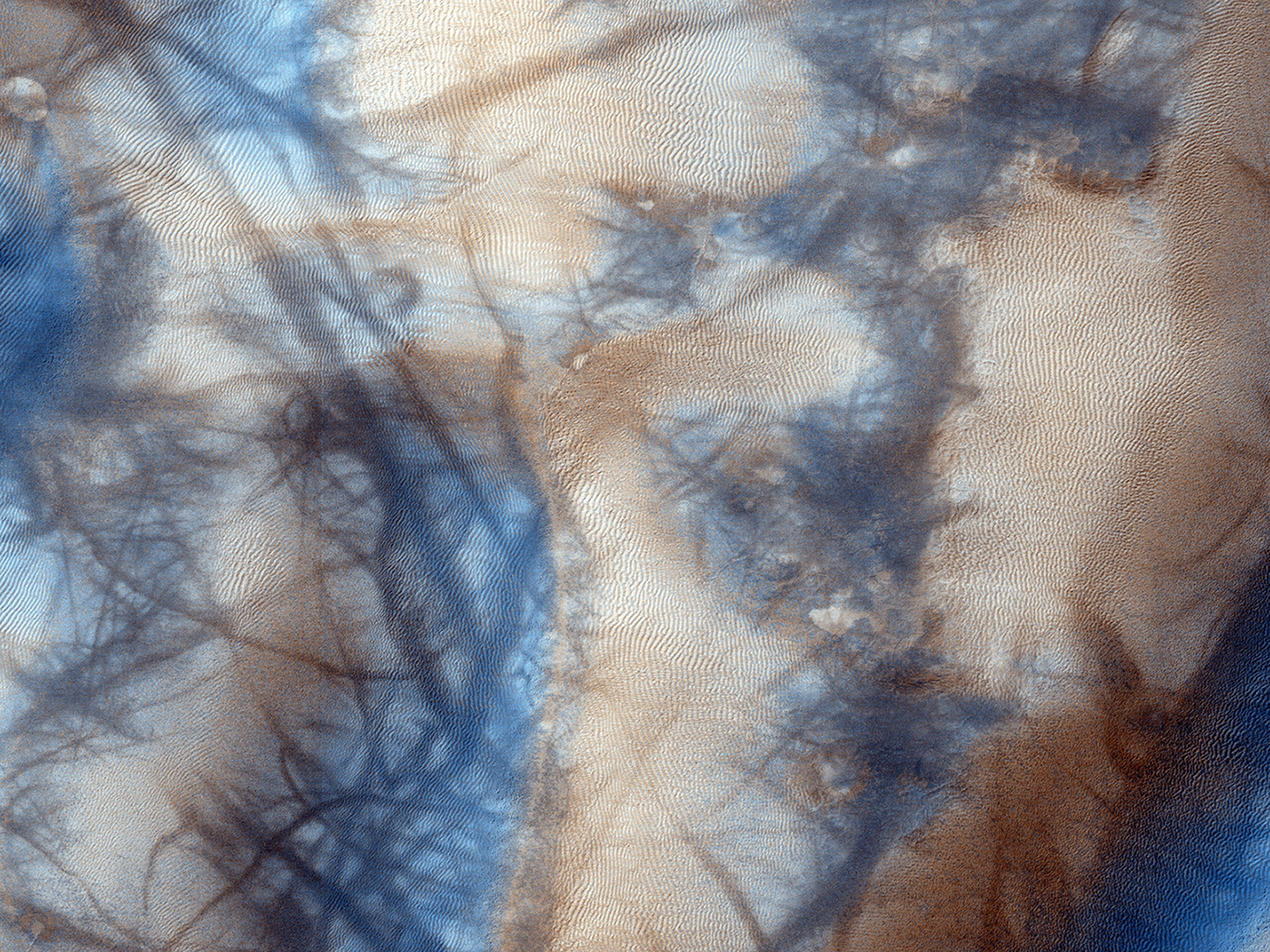 A dune field near the south pole gets shaped as carbon dioxide frost forms and sublimates. Scientists use images like this taken by the Mars Reconnaissance Orbiter's HiRise camera to understand how these processes change with time.  Credit:  Nasa/JPL-Caltech/University of Arizona