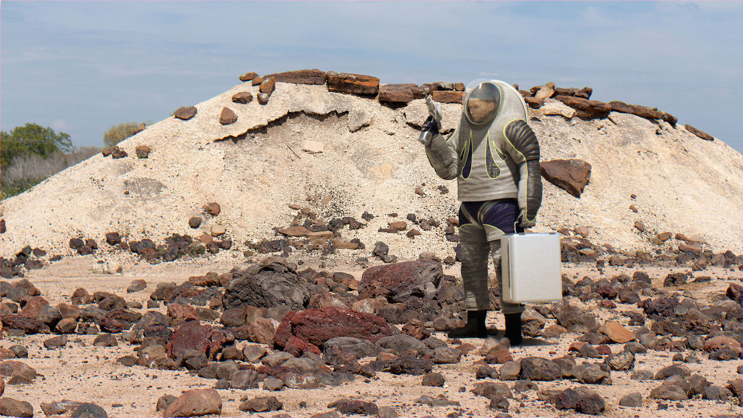 It may look like an interplanetary spy making a secret drop, but it's actually a renderingof Nasa'sZ2 spacesuit concept. Credit:  Nasa