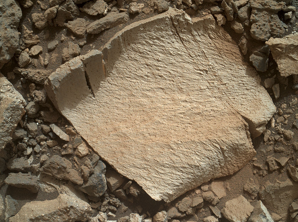 Worth a second look. Spectrographic analysis detected high levels of silica in this rock fragment, leading the rover team to back up and take a closer look. Credit:  Nasa/JPL-Caltech/MSSS