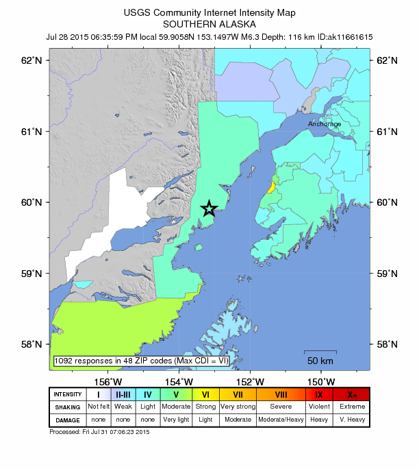 A map of earthquake intensity based on 1,092 citizen reports. Credit:  USGS