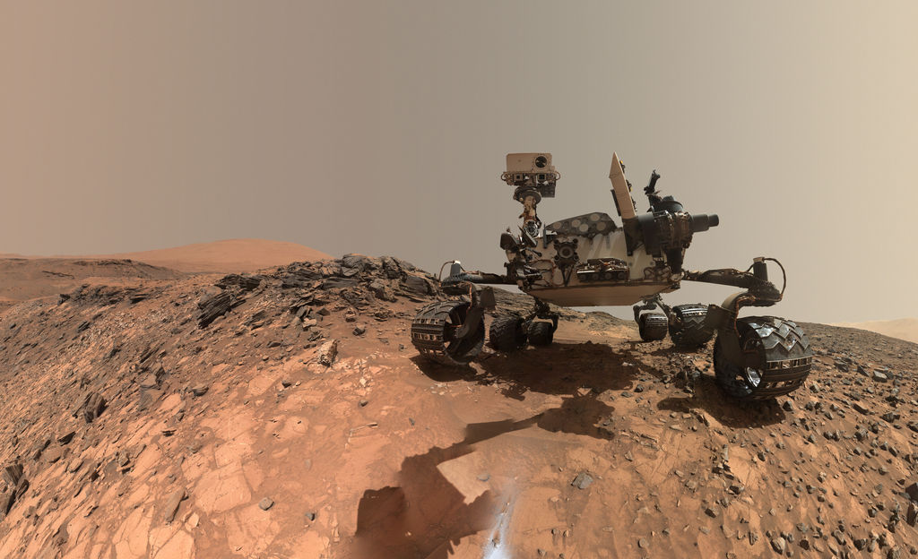 "Nasa's Mars Science Laboratory mission team stitched together this ""selfie"" of the Curiosity rover in ""Marias Pass""  Credit:  Nasa/JPL-Caltech"