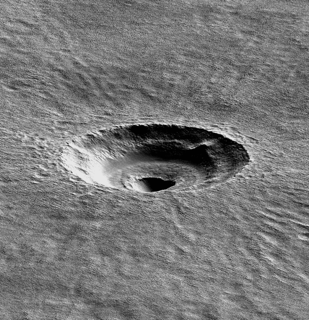 Visual and radar data from Nasa's Mars Reconnaissance Orbiter combine in this perspective view of Badger Crater  Credit:  Nasa/JPL-Caltech/University of Arizona/American Geophysical Union