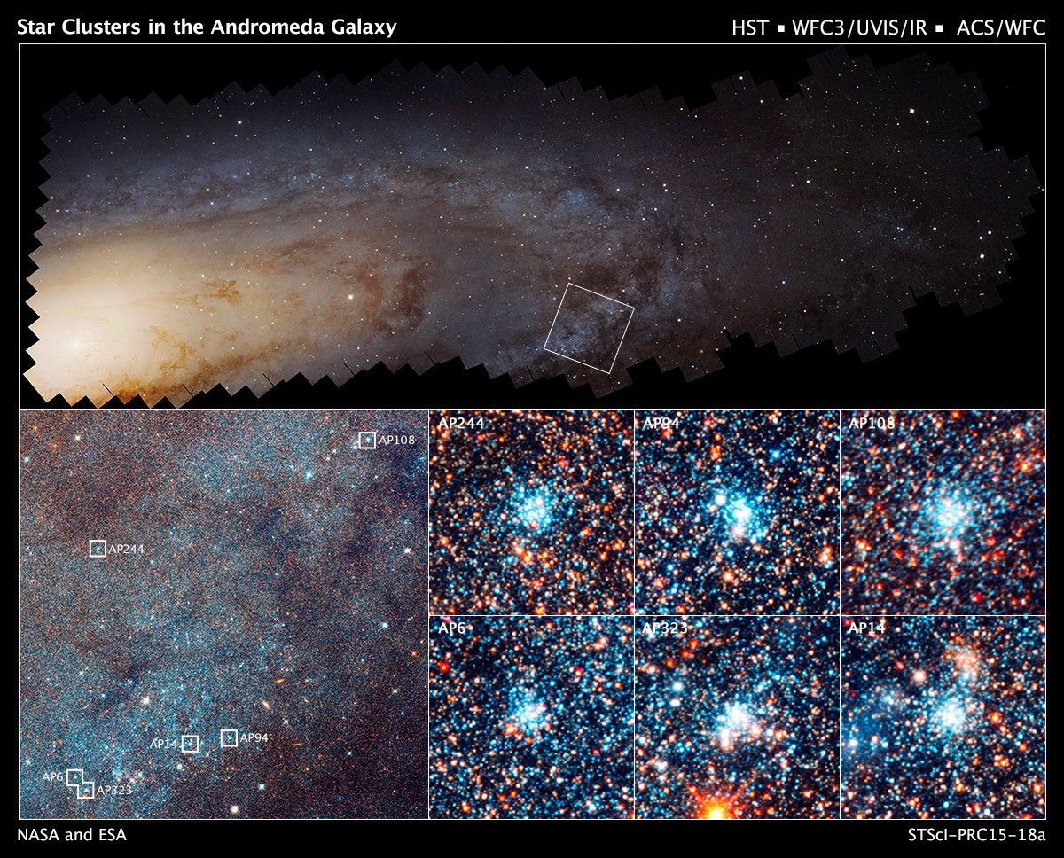 The stellar clusters spotted by the Andromeda Project's citizen scientists will let astronomers study how stars form and evolve. Source:  Hubblesite