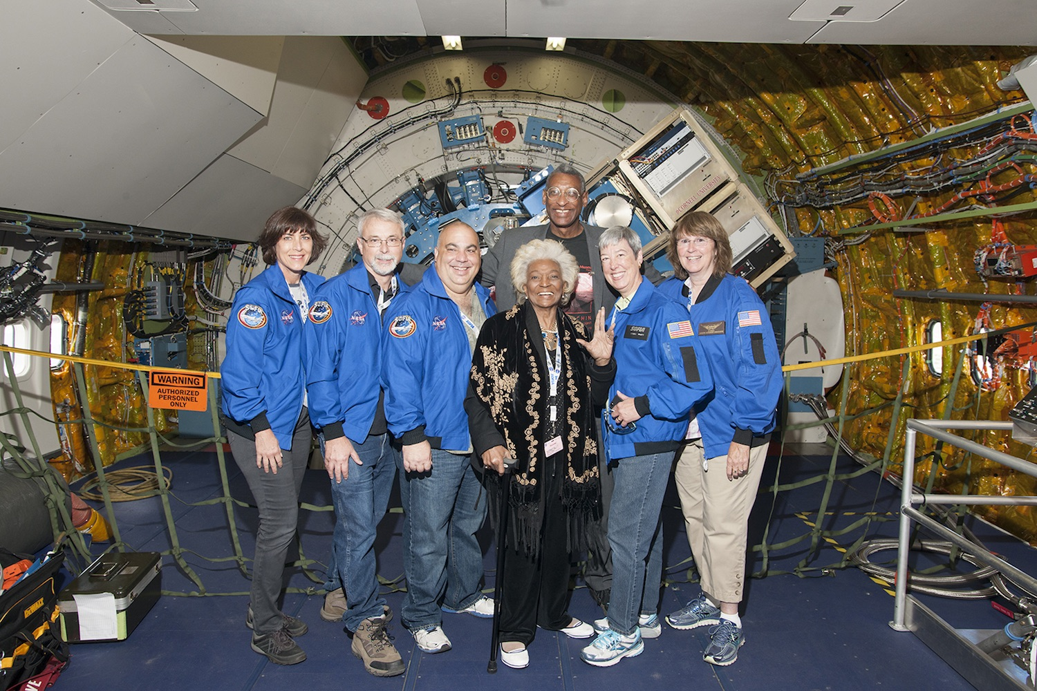 Nichelle Nichols played Lt. Uhura on  Star Trek  and got one step closer to space when she flew on Nasa's Sofia flying observatory with a team of science educators.  Credit:  Nasa/Carla Thomas