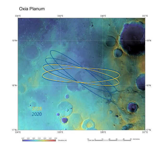 Scientists have recommended Oxia Planum as the primary landing site for the Esa/Roscosmos ExoMars 2018 mission. The region combines safe landing conditions with the geological potential to preserve signs of ancient Martian life.  Credit:  ESA/DLR/FU Berlin & NASA MGS MOLA Science Team