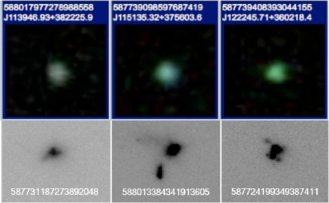 "The fuzzy green dots in the top row are ""green pea"" galaxies discovered by the citizen scientists at Galaxy Zoo in images from the Sloan Digital Sky Survey. The same galaxies appear in greyscale images from the Hubble Space Telescope.  Credit:  Galaxy Zoo / Sloan Digital Sky Survey / Nasa / Esa / STScI"