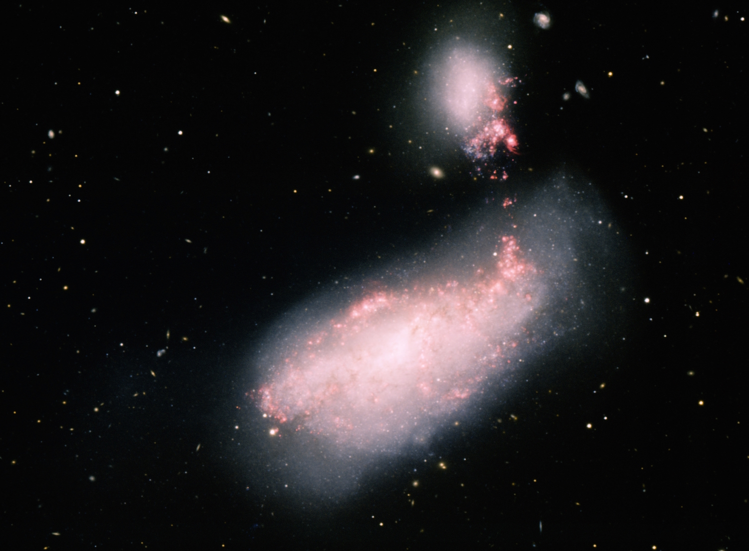 Light from what may have been the collision of two stars in the galaxy NGC 4490 reached Earth in 2011. Observations from amateur astronomers helped researchers in their investigation of the event.  Credit:  T.A. Rector (University of Alaska Anchorage) and H. Schweiker (Wiyn and Noao/Aura/NSF)