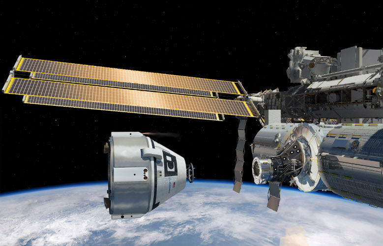 Boeing's artistic rendering depicts the CST-100  Starliner capsule approaching the International Space Station. Nasa has awarded the company two contracts to carry astronauts to the space station. Credit:  Boeing