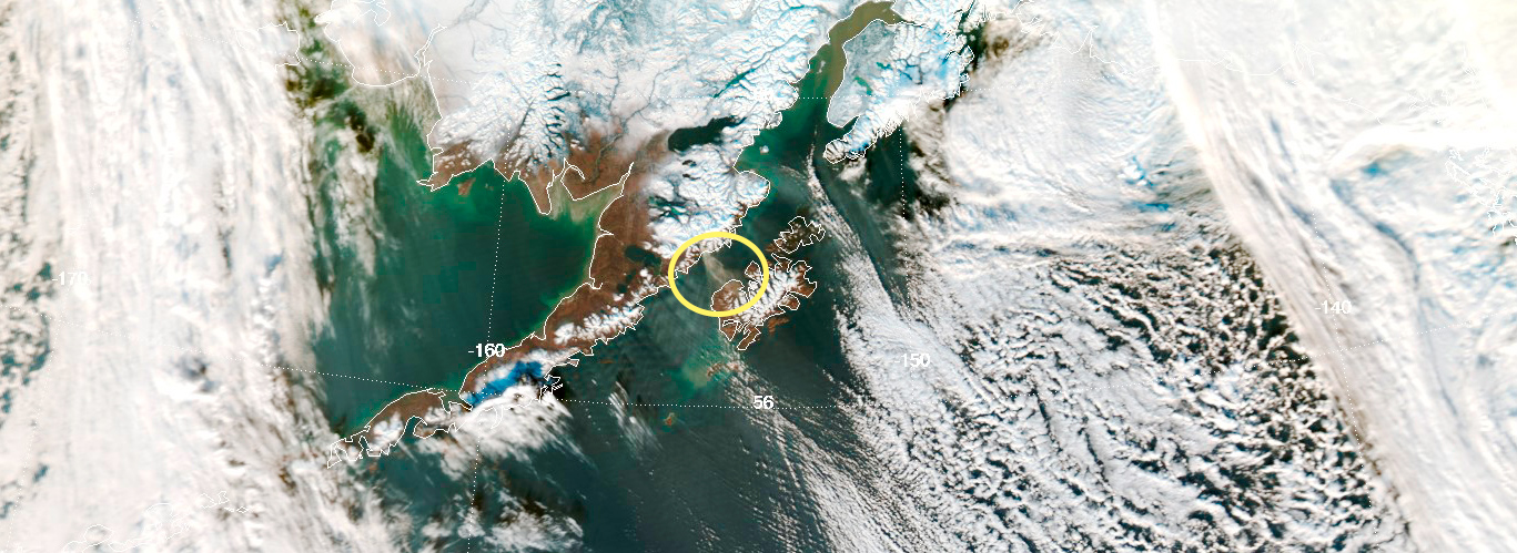 Not all clouds are the same. Seasonal winds in Alaska kick up clouds of volcanic ash (circled) from century old eruptions. Citizen scientists will help the USGS track the ash clouds' progress.  Credit: Nasa/GSFC