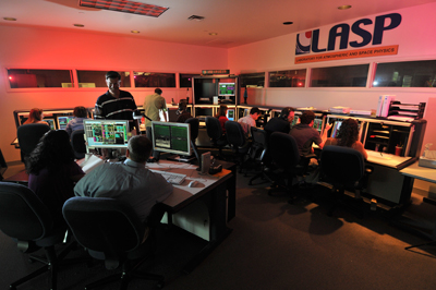 Undergraduates at the University of Colorado-Boulder run the communications station for Nasa's Kepler Space Telescope.  Credit: LASP