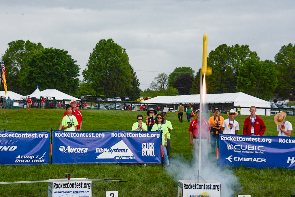 Students from Odle Middle School watch as their rocket leaves the pad. Over the course of the two day Team America Rocketry Challenge, the students out-performed one hundred other teams to become America's rocketry champions.  Credit:  Team America Rocketry Challenge