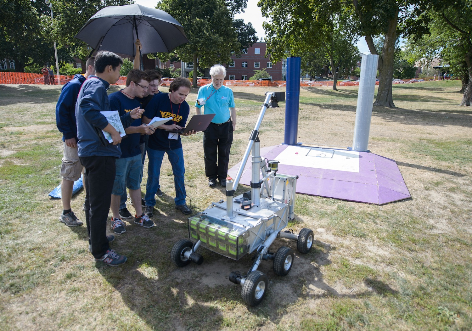 Students from West Virginia University were the first to win Phase 2 of Nasa's Sample Return Robot Challenge. Credit:  Nasa/Joel Kowsky
