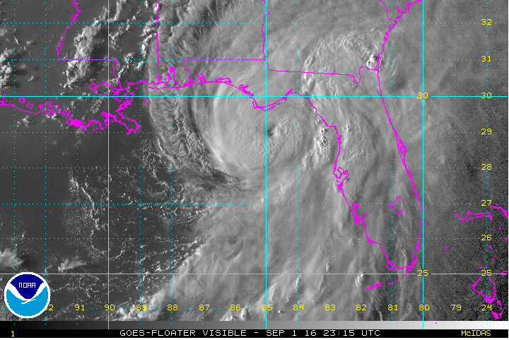 Satellite image of hurricane Hermine as it approached the southeastern United States. Citizen scientist analysis of images like this will help meteorologists make better forecasts and earth scientists study the effect of climate change on tropical cyclones. Credit:  Noaa