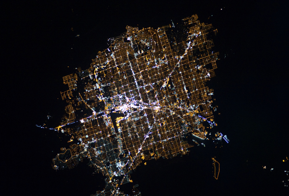Las Vegas is an extreme example of city lights, but light pollution affects almost everyone on the planet. Credit:  Nasa