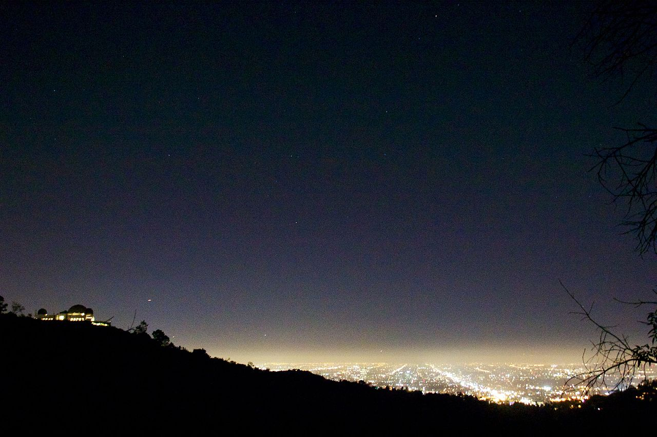 Los Angeles city lights do more than shine down. Illuminating the night sky wastes energy and masks the marvels of the Milky Way. Credit:  Mike Peel CC-BY-SA 4.0 via WikiCommons