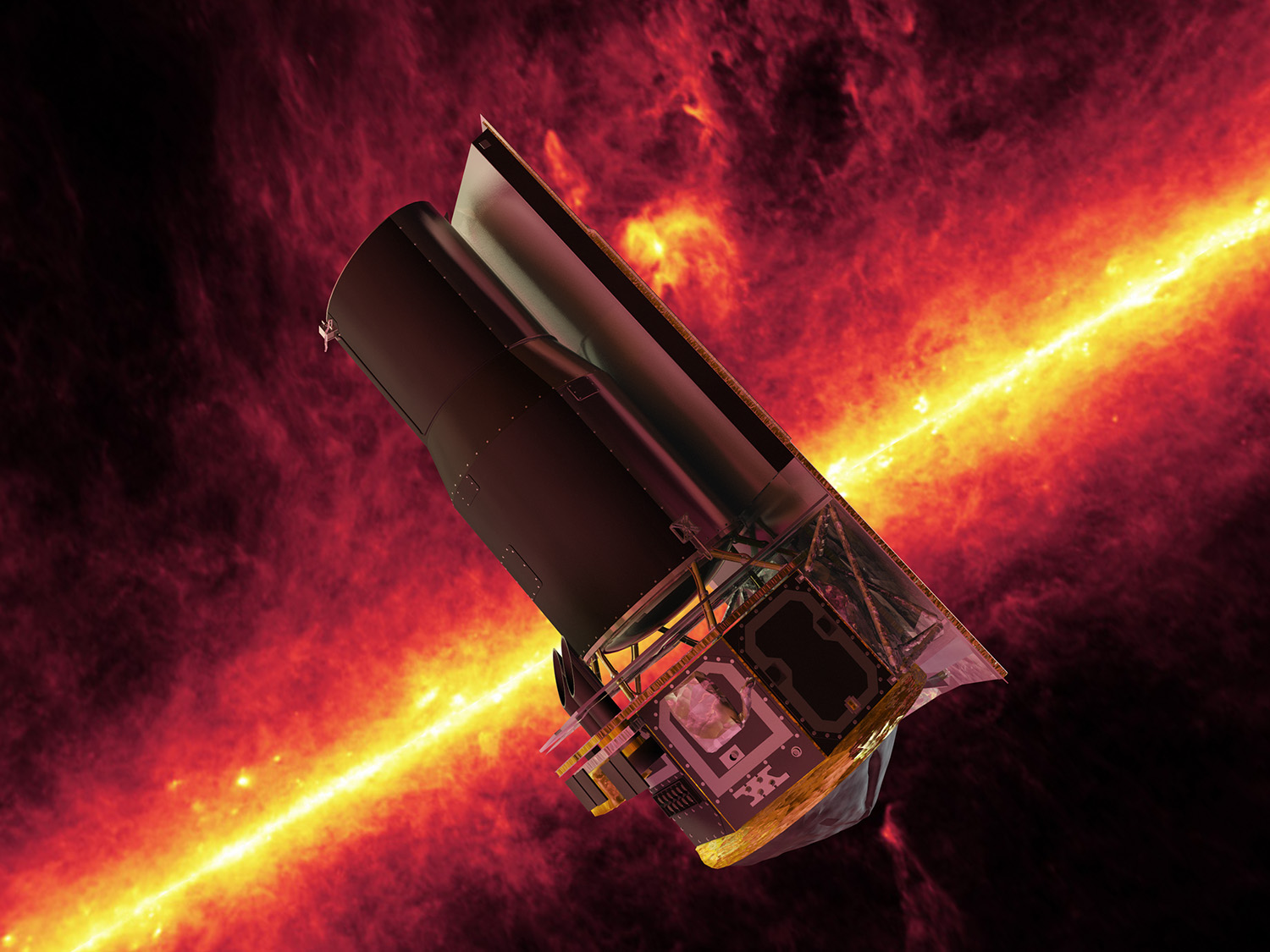 An artist's concept of the Spitzer Space Telescope against the Milky Way in infrared. Most of the 42 million sources of infrared light that Spitzer registered were incidental - astronomers were looking at one thing but the Spitzer's camera picked up everything around it. Linda and her fellow teachers searched this archive to find objects that had never been cataloged before - a valuable resource for astronomers in their research. Credit: Nasa/JPL-Caltech/R.Hurt (SSC)