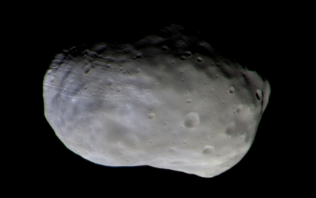 No, this is not Mark Whatney's missing potato. It is the first color image from the Trace Gas Orbiter of Martian moon Phobos. Credit:  ESA/Roscosmos/CaSSIS