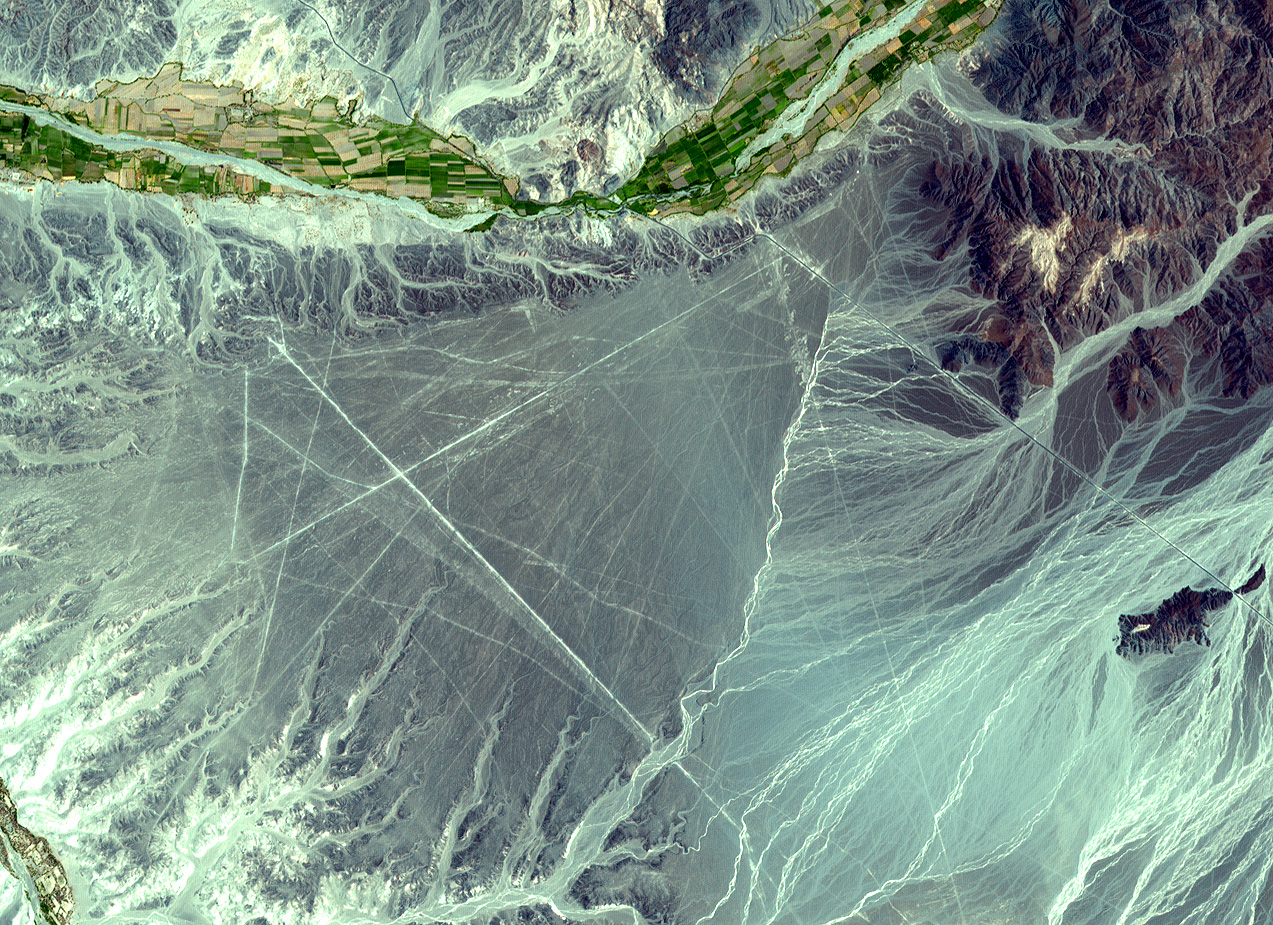 The Nasca civilization created geometric shapes that can only be seen from the air... or space. GlobalXplorer will let you search for signs of ancient Peruvian civilizations in images from orbit.  Credit: Nasa / GSFC / MITI / ERSDAC / Jaros, and US/Japan Aster Science Team