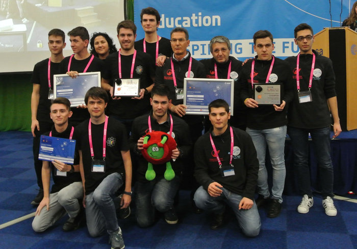 These Italian students were part of the winning team that took control of robots on the International Space Station.  Credit:  Esa