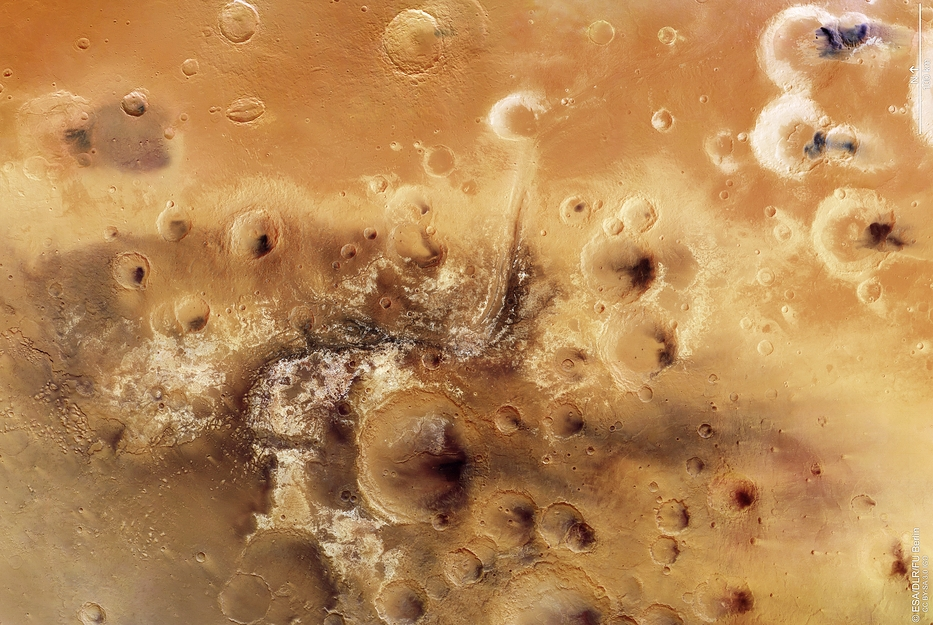 Mawrth Vallis, a potential landing site for Europe's ExoMars 2020 rover.  Credit: Esa/DLR/FU Berlin, CC BY-SA 3.0 IGO