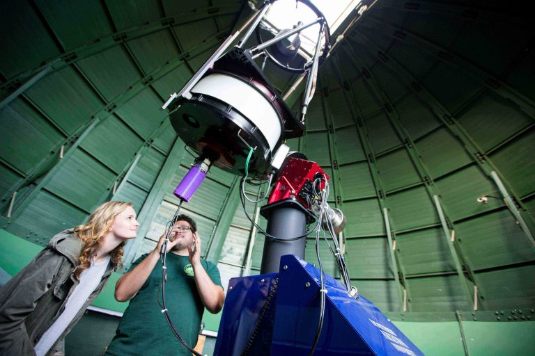 Tipsi is the purple cylinder at the bottom of Northern Arizona University's campus telescope.  Credit: Northern Arizona University