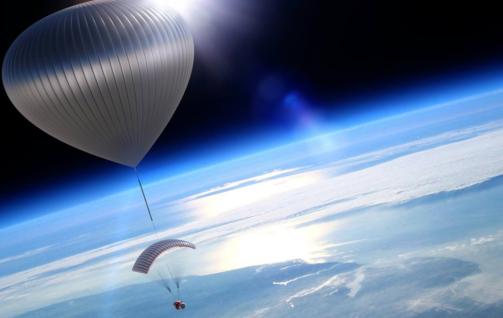 World View plans to carry half a dozen tourists into the stratosphere. They will ride in a pressurized capsule suspended from a parachute suspended from a giant balloon. After a few hours floating at the edge of space... the balloon pops. Eventually the atmosphere gets thick enough for the parachutes to work and the tourists land safely.  Credit: World View