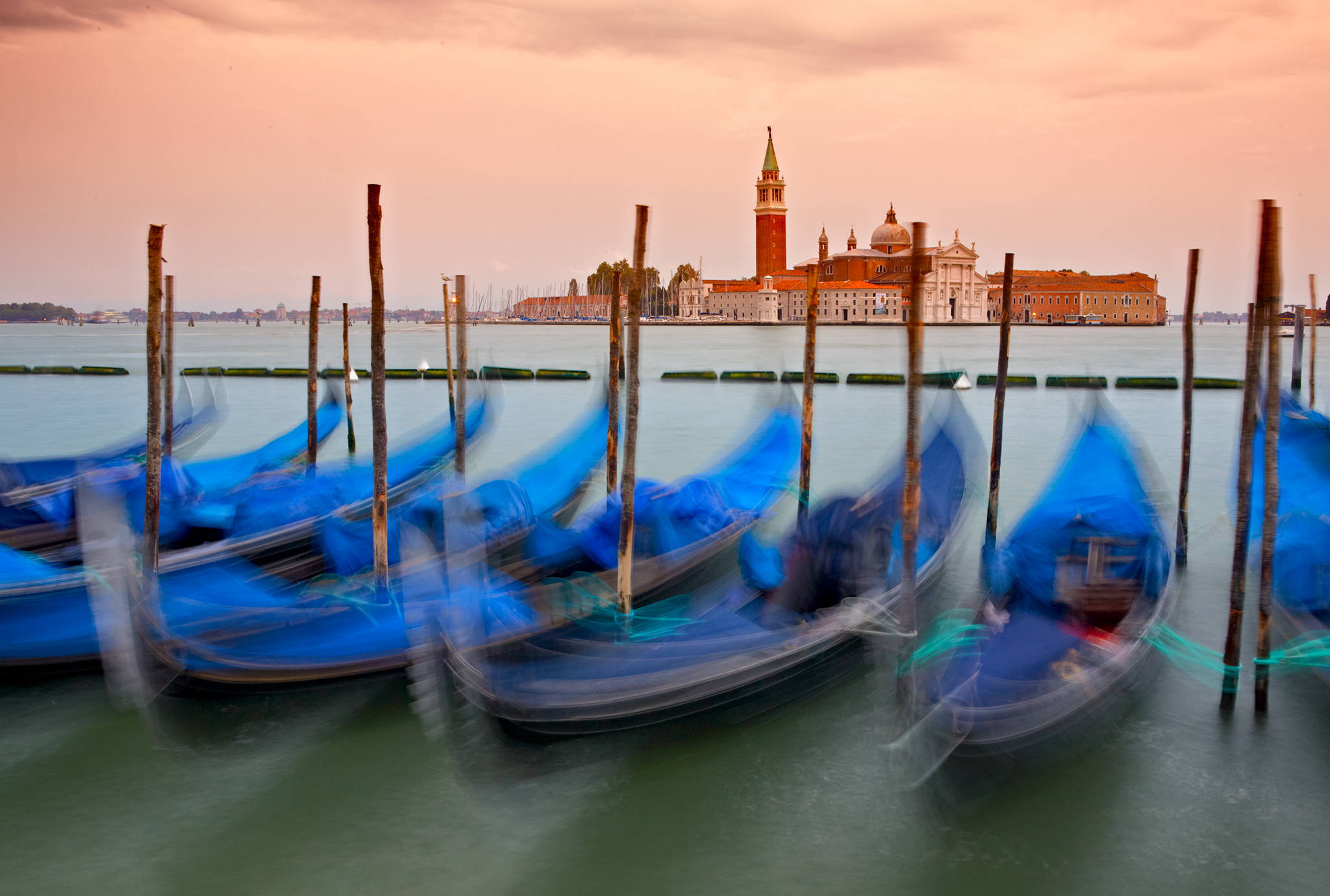 The Gondalas - early morning view from San Marco square in Venice