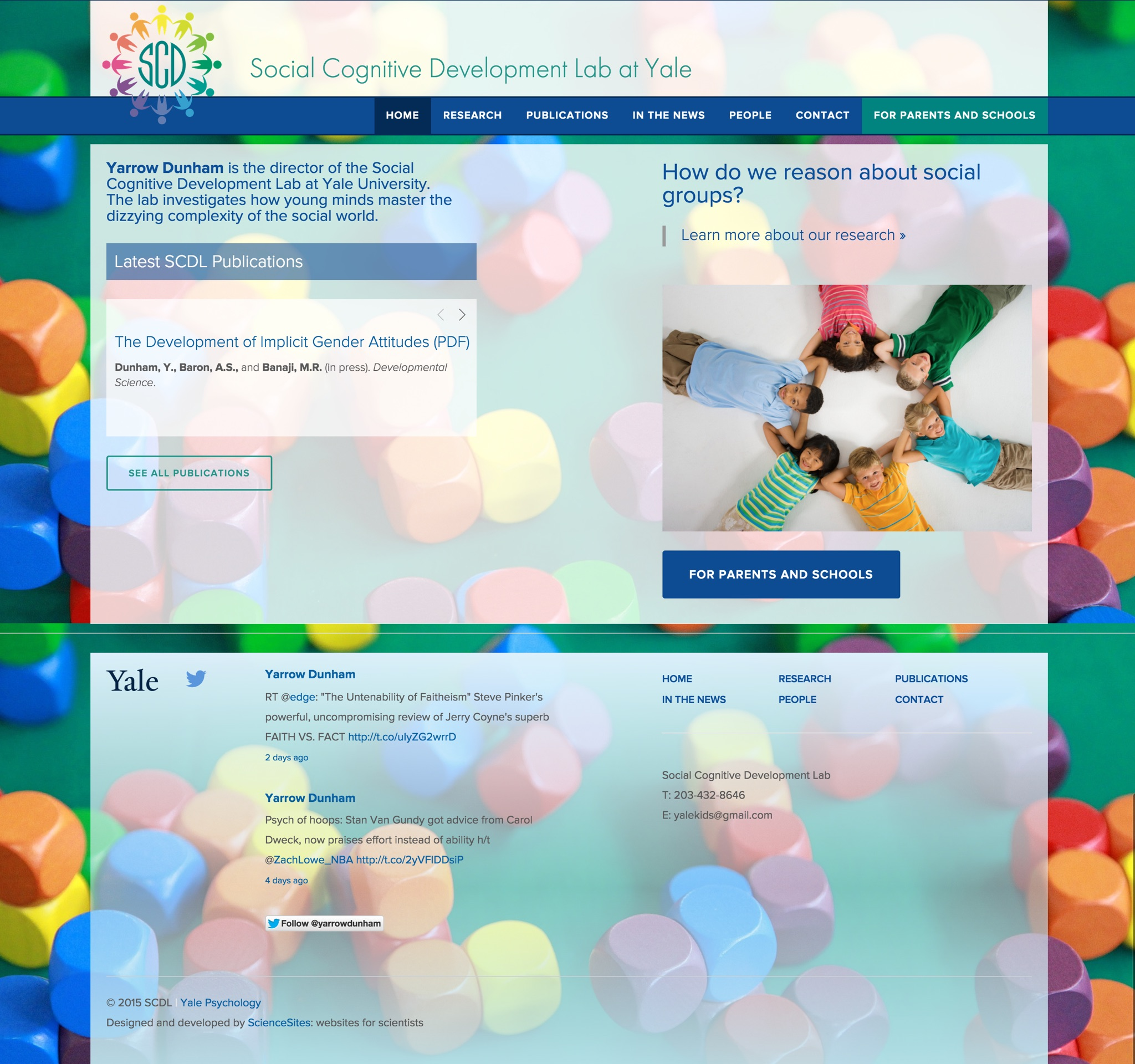 Visit the Social Cognitive Development Lab's ScienceSite