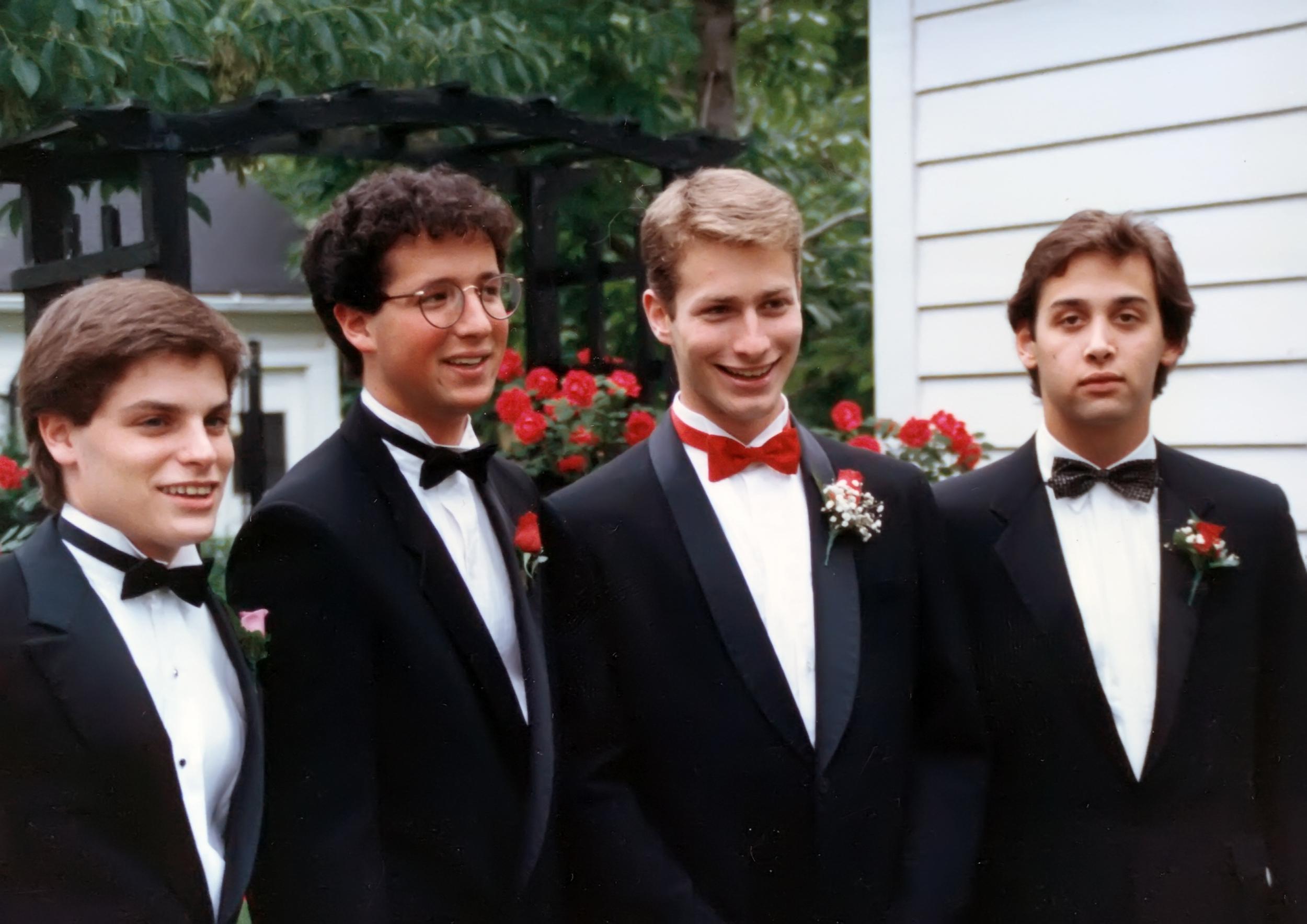 Senior prom: Alan, Ari, Stuart, me. 1987