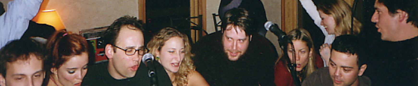 Sundance Wet Hot party, 2001. (Left to right: Jake Fogelnest, Marguerite Moreau, David Wain, Kabira Stokes, Zak Orth, Elizabeth Banks, Joe Lo Truglio, Ken Marino)