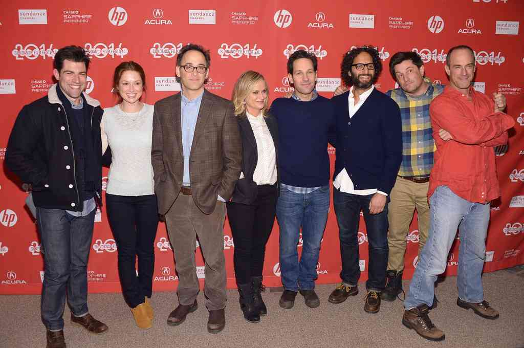 Max Greenfield, Ellie Kemper, David Wain, Amy Poehler, Paul Rudd, Jason Mantzoukas, Michael Showalter, Christopher Meloni at the world premiere of  They Came Together,  Sundance Film Festival, 1/14/14.