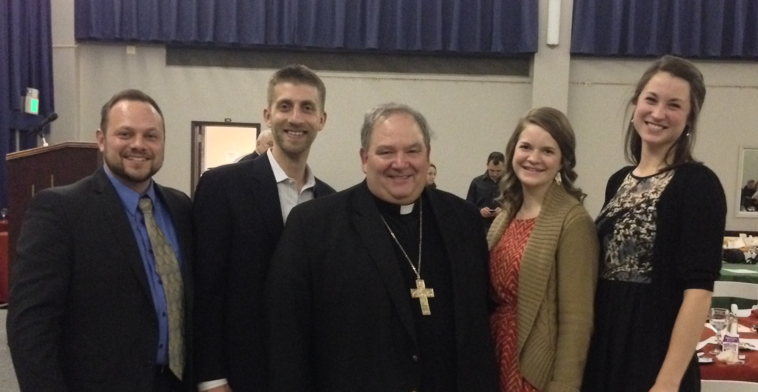 Archbishop Hebda with SPO Household member Craig Johnson and SPO staff members Ed Moccia, Kimi Butler, and Becca Shrake
