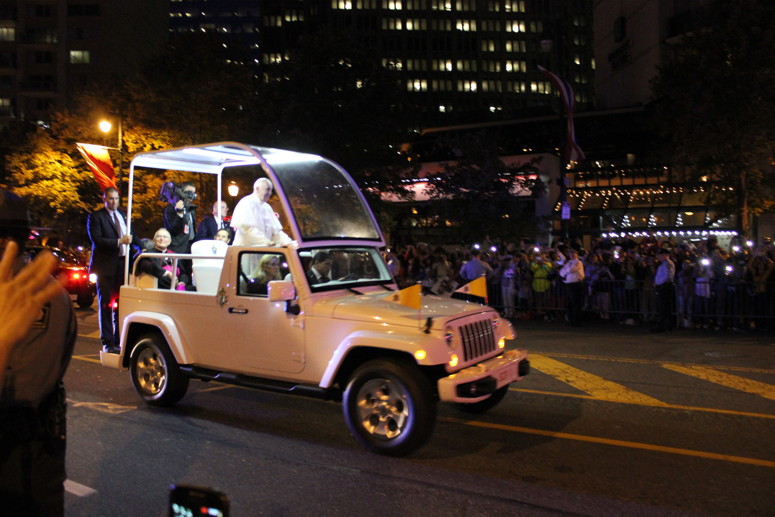Our view on Saturday night for the first papal parade in Philadelphia.