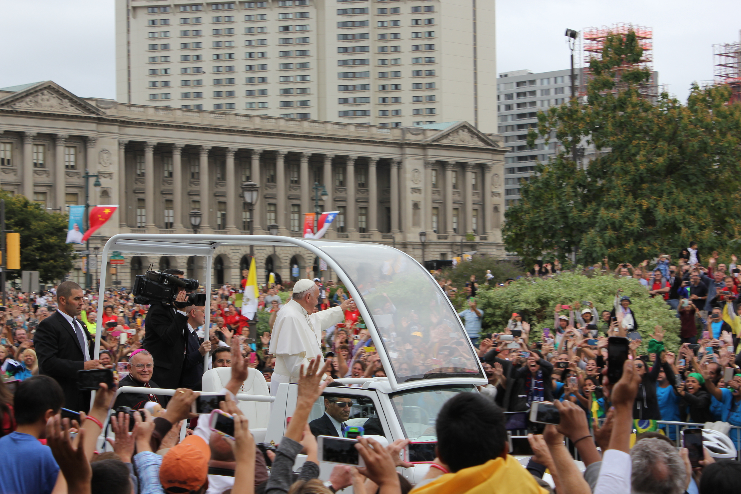 Our view on Sunday as Pope Francis drove by on his way to say mass.