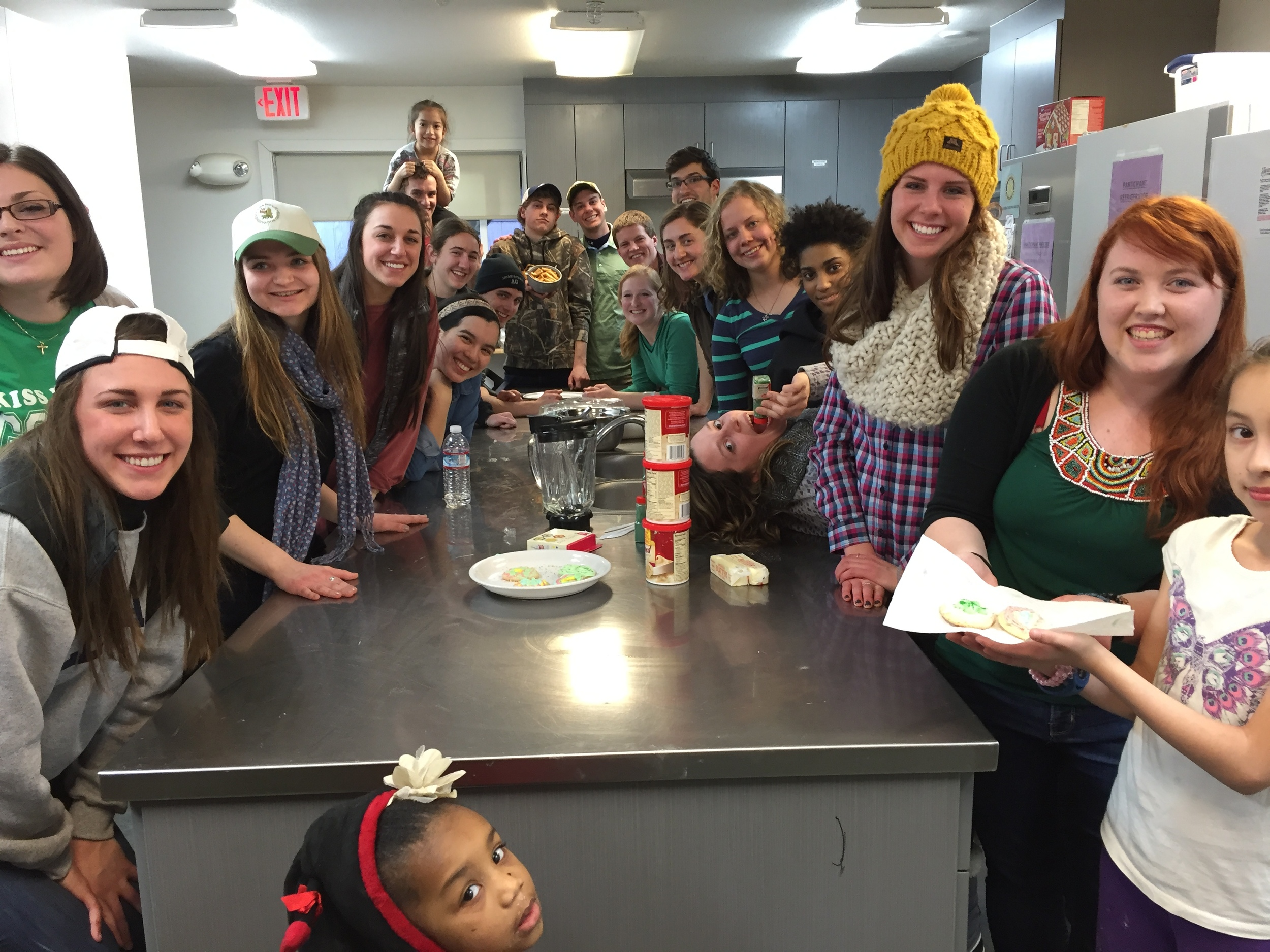 Baking cookies with the homeless children at Clare House for St. Patrick's Day