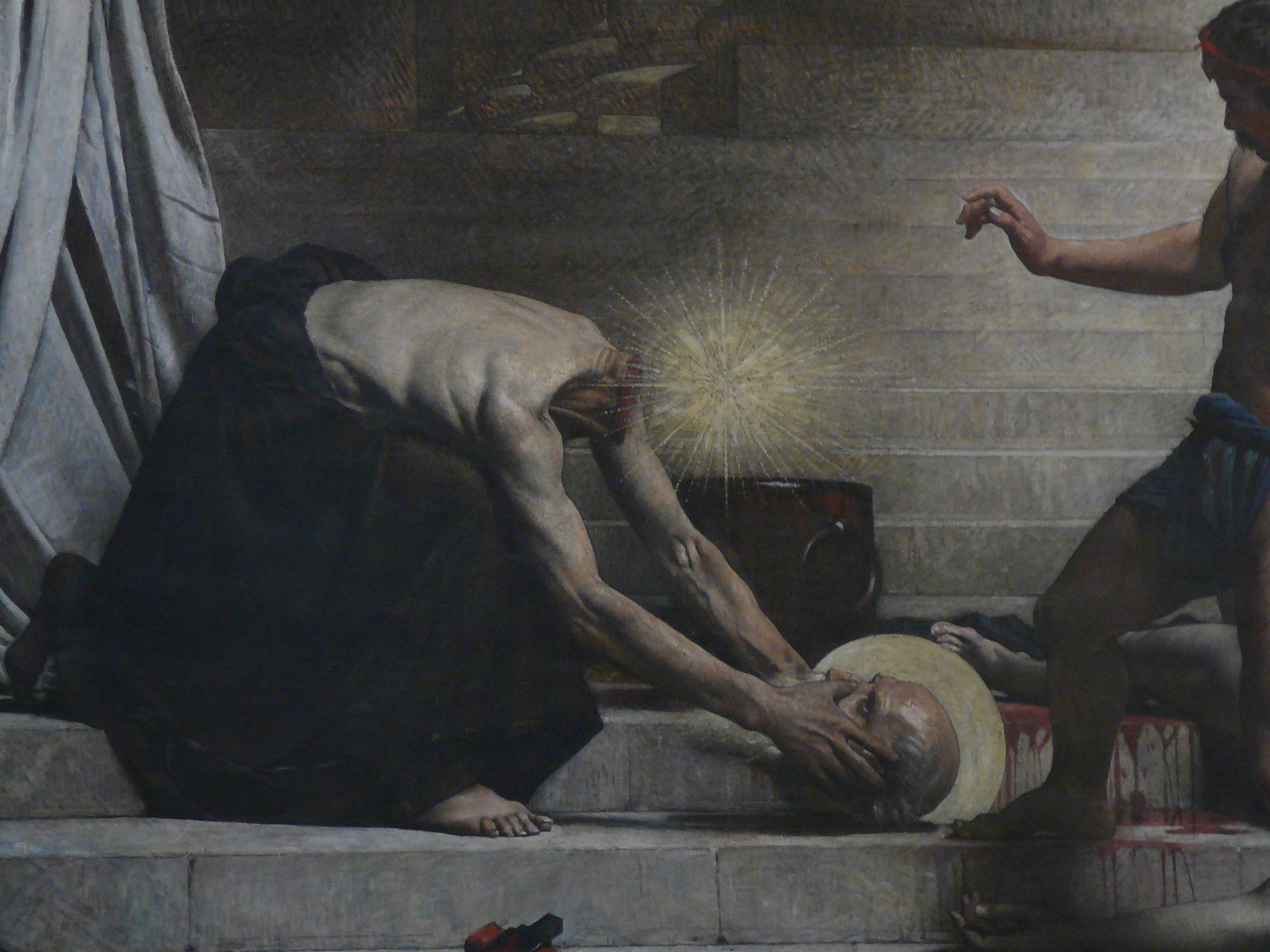 A painting of Saint Denis picking up his recently disembodied head