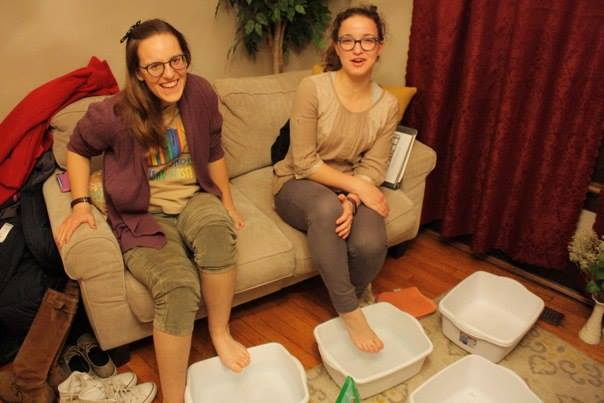 Annie Hoelscher (right) enjoying a foot bath at SPO Ohio's Pure Silk Women's Spa Night