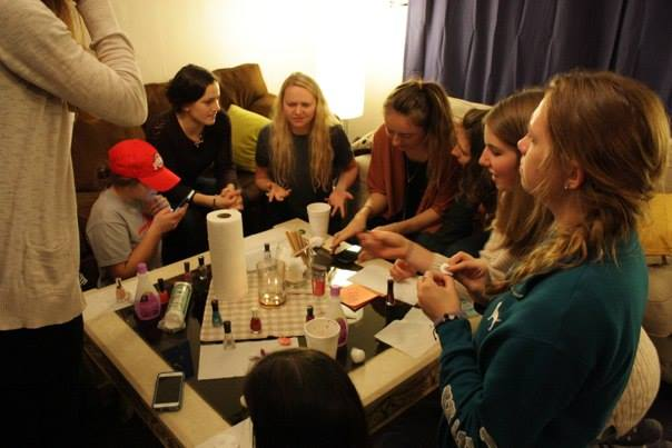 Ohio State students painting their nails