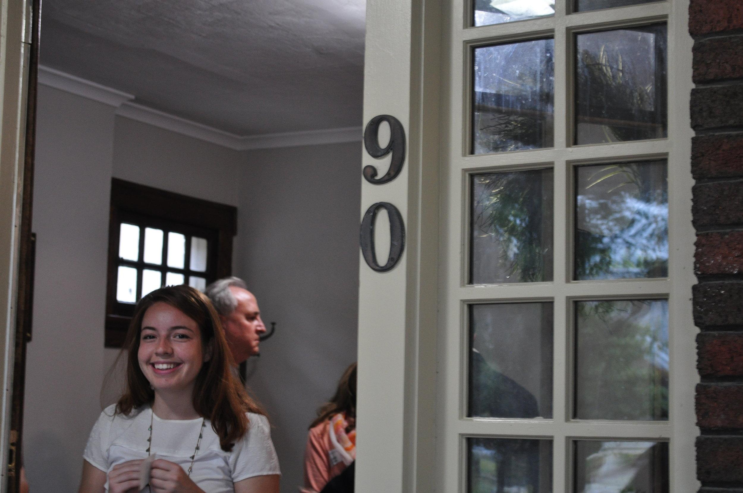 OSU Junior, Melissa, welcoming guests at Siena Grand Opening Reception and Dedication