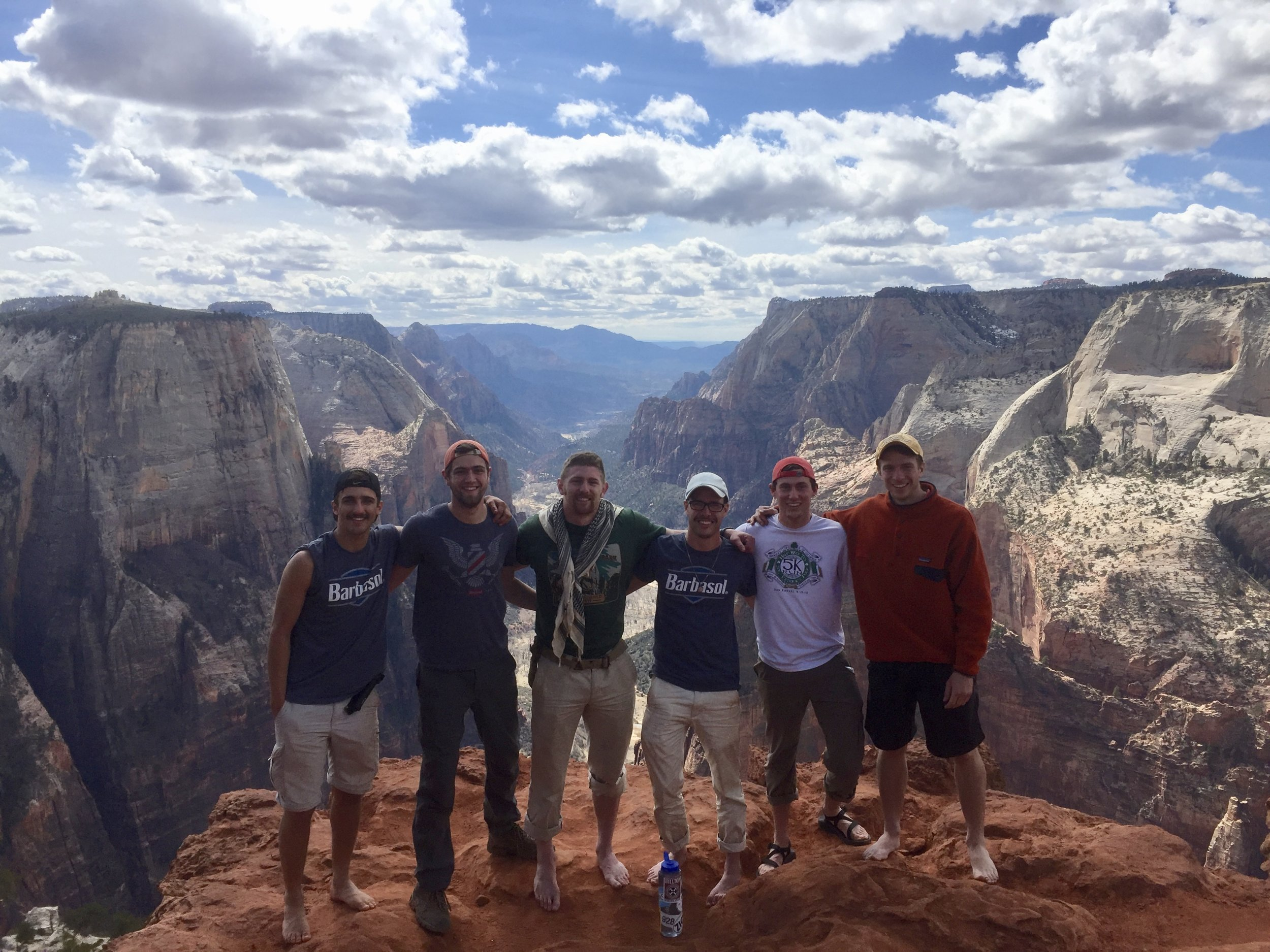 Our group (Antonio, Joe, Mike, Tim, David, and Jeff) at the Observation Point overlooking Zion Canyon.