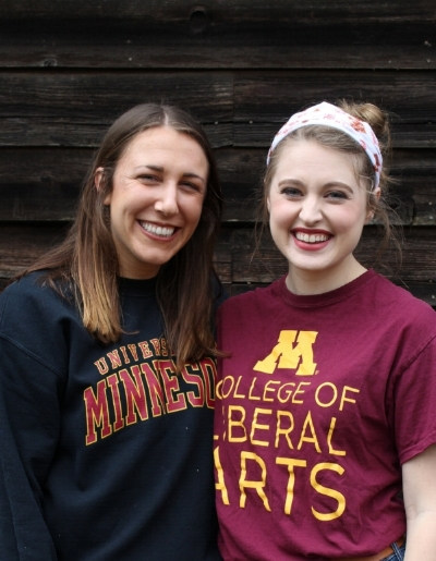 Bernadette (left) with Sarah Spellins (Missionary at the University of MN)