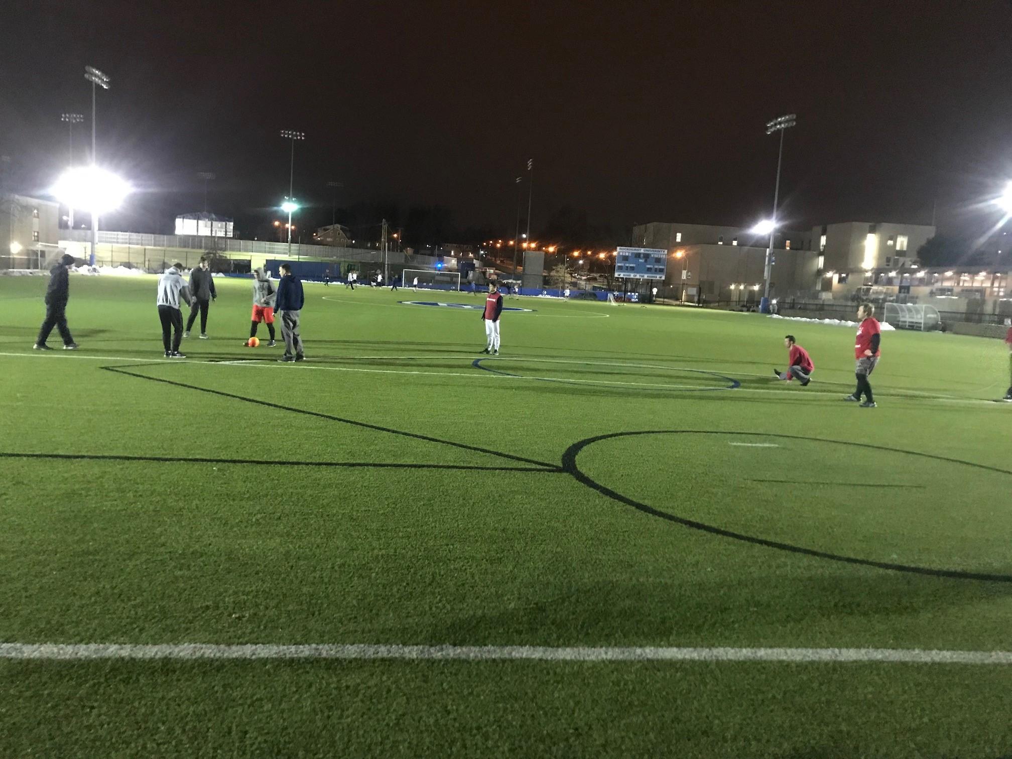 Men preparing for rugby-soccer: Barbasol red vs neutral tones