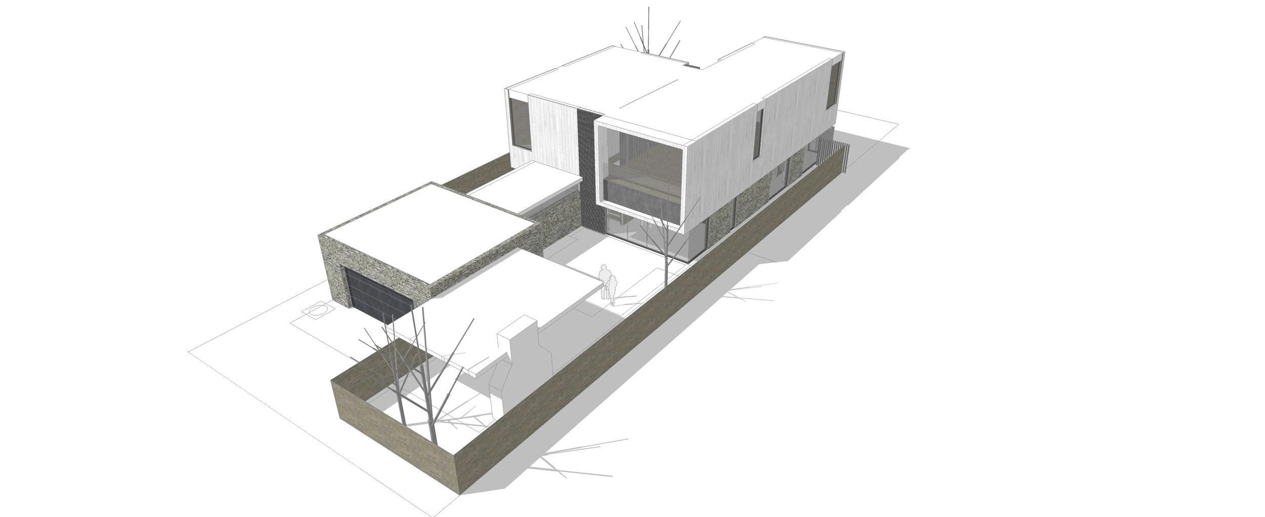 Scheme MQ:  Quincho in Middle of Yard