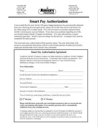 SmartPay Checking Authorization Form