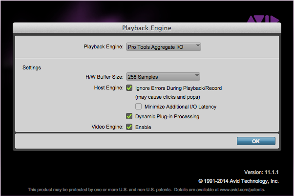 Playback Engine dialog, right in front of the ProTools splash screen!