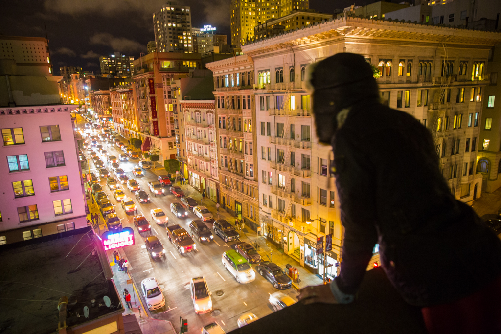 Looking out on Bush Street, San Francisco, USA