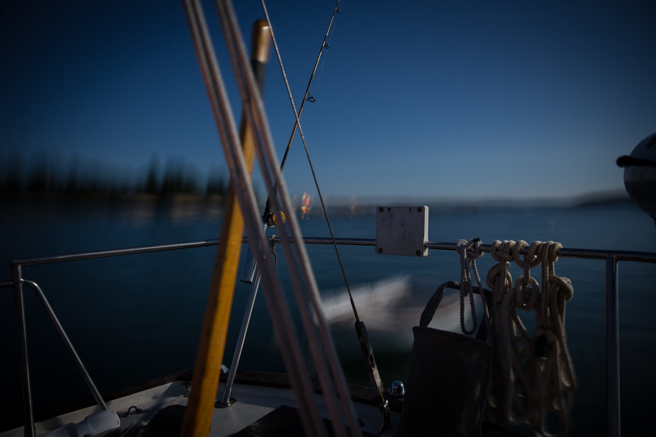 Tiller, Rod, and Rope at Night