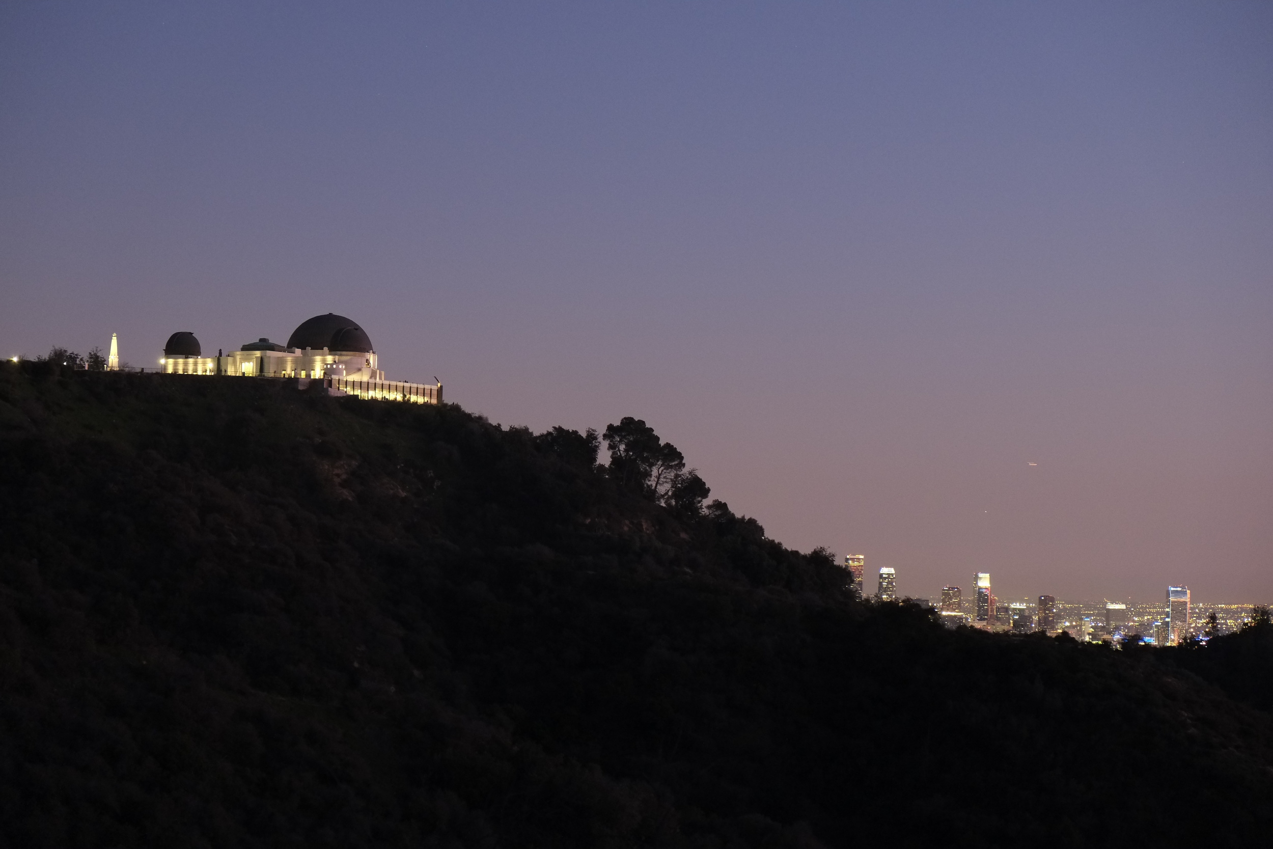 Griffith Observatory, Jan 12, 2013  Fuji X-E1, XF 18-55 @ 55mm  f/4 @ 0.4 Sec, 1600 ISO